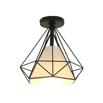 Lámpara de techo retro industrial, jaula de pájaros con forma de ...