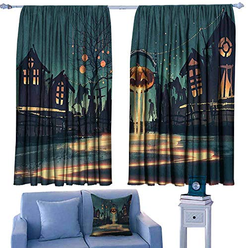 Simple Curtain Fantasy Art House Decor Halloween Theme Night Pumpkin and Haunted House Ghost Town Artful Privacy Protection 72