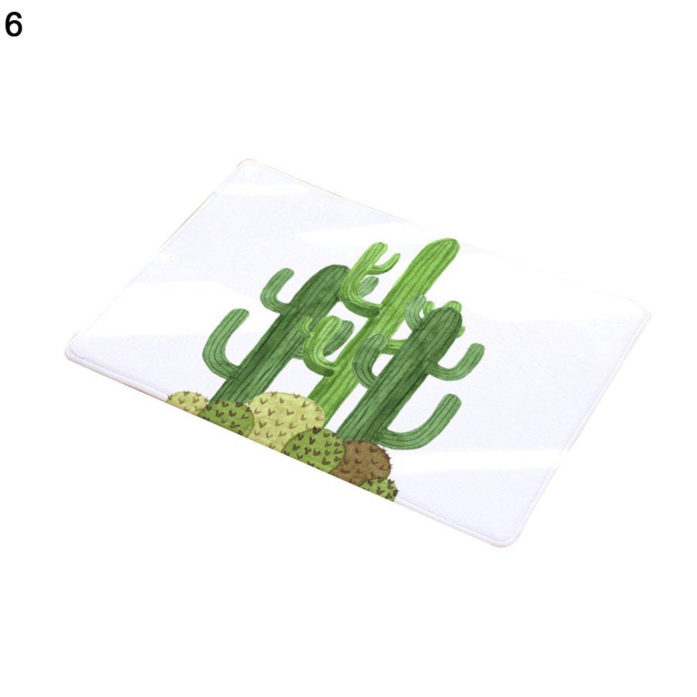Cucina per Bagno Porta Vito546rton Tappetino Antiscivolo per la casa 1# Tappeto Morbido Antiscivolo con Motivo Cactus Creativo