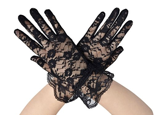 TAUT Women's UV Protection Lace Wedding Dress Gloves,Black 8.3