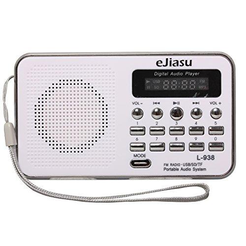 Portable Rechargeable Radio, eJiasu Small Radio Mini Digital FM Radio Battery Radio Support MP3 Player TF SD Card USB Port LED Screen Display Flashlight Rechargeable ()