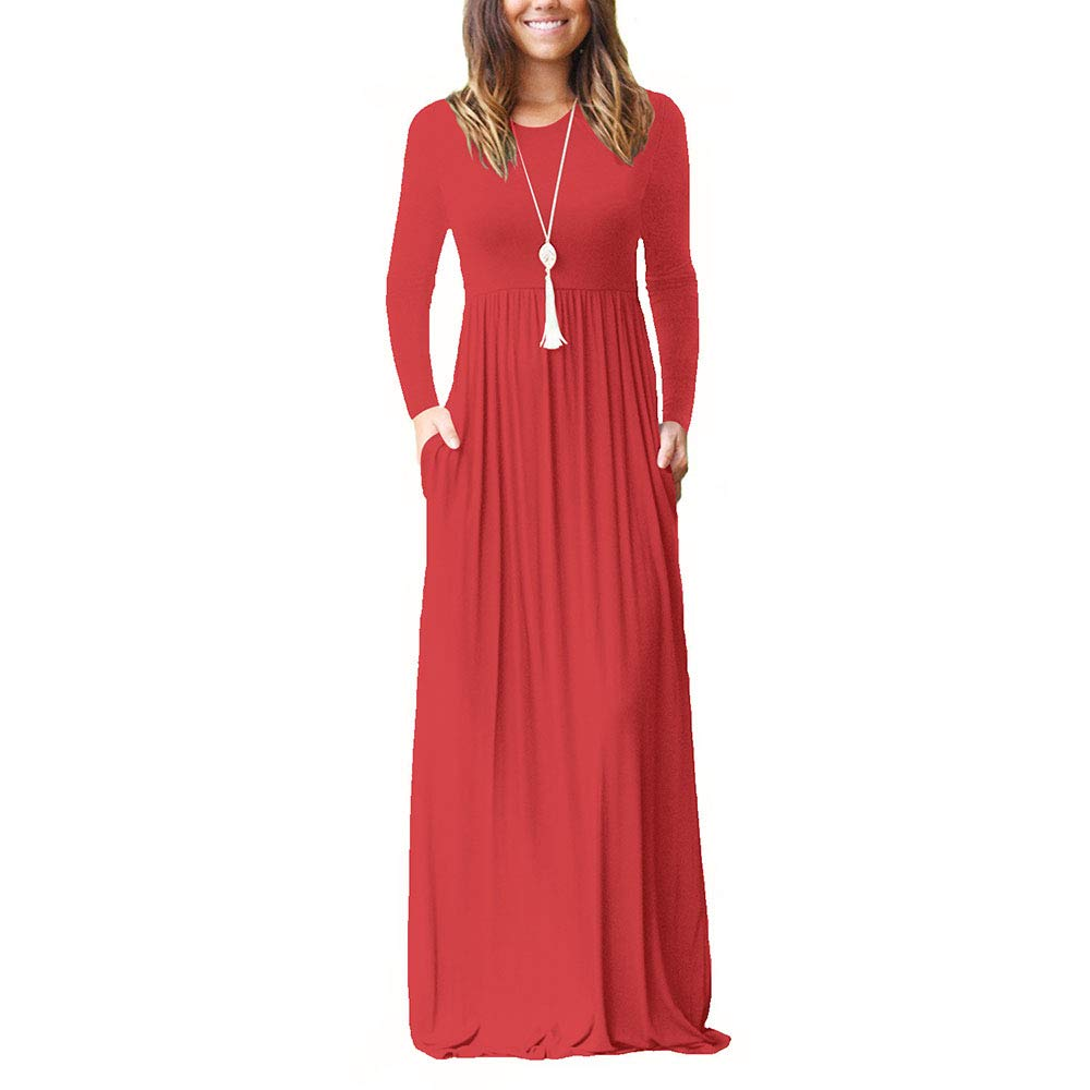 f838ae41ed4 AUMING Women s Party Dress Women s Long Sleeve Loose Maxi Dress Casual Long  Plain Pleated O Neck Dresses With Pockets (Color   Big Red