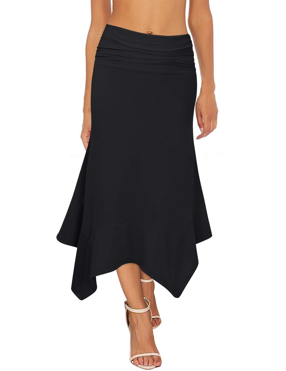 GloryStar Women's Elastic Waist A-Line Flowy Asymmetrical Pleated Midi Skirt (L, Black)