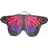 Macabolo Ala de mariposa de tela suave, chal de mariposa de hada, capa de alas de disfraz para niños y niñas…