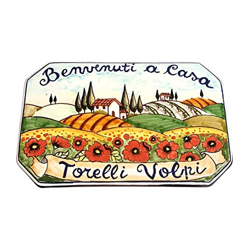 CERAMICHE D'ARTE PARRINI - Italian Ceramic Art Pottery Tile Custom House Number Civic Address Plaques Decorated Landscape Hand Tuscan Painted Made in ITALY ()