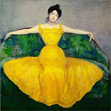 Poster 50 x 50 cm: Frau in Einem gelben Kleid von Maximilian Kurzweil Hochwertiger Kunstdruck, Kunstposter