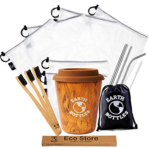 Earth Bottles - Zero Waste Kit | Sustainable Products | 6X Reusable Produce Bags, 3X Bamboo Toothbrush, 3X Stainless Steel Straws and 1x Coffee Travel Mug | Take The Plastic Free Pledge