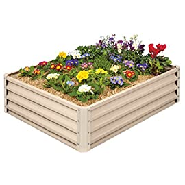 Metal Raised Garden Bed Kit - Elevated Planter Box For Growing Herbs, Vegetables, Flowers, and Succulents (1) 3 Beige Metal Raised Garden Bed Kit