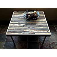48x48x18 square mosaic barn wood coffee table with industrial pipe legs.
