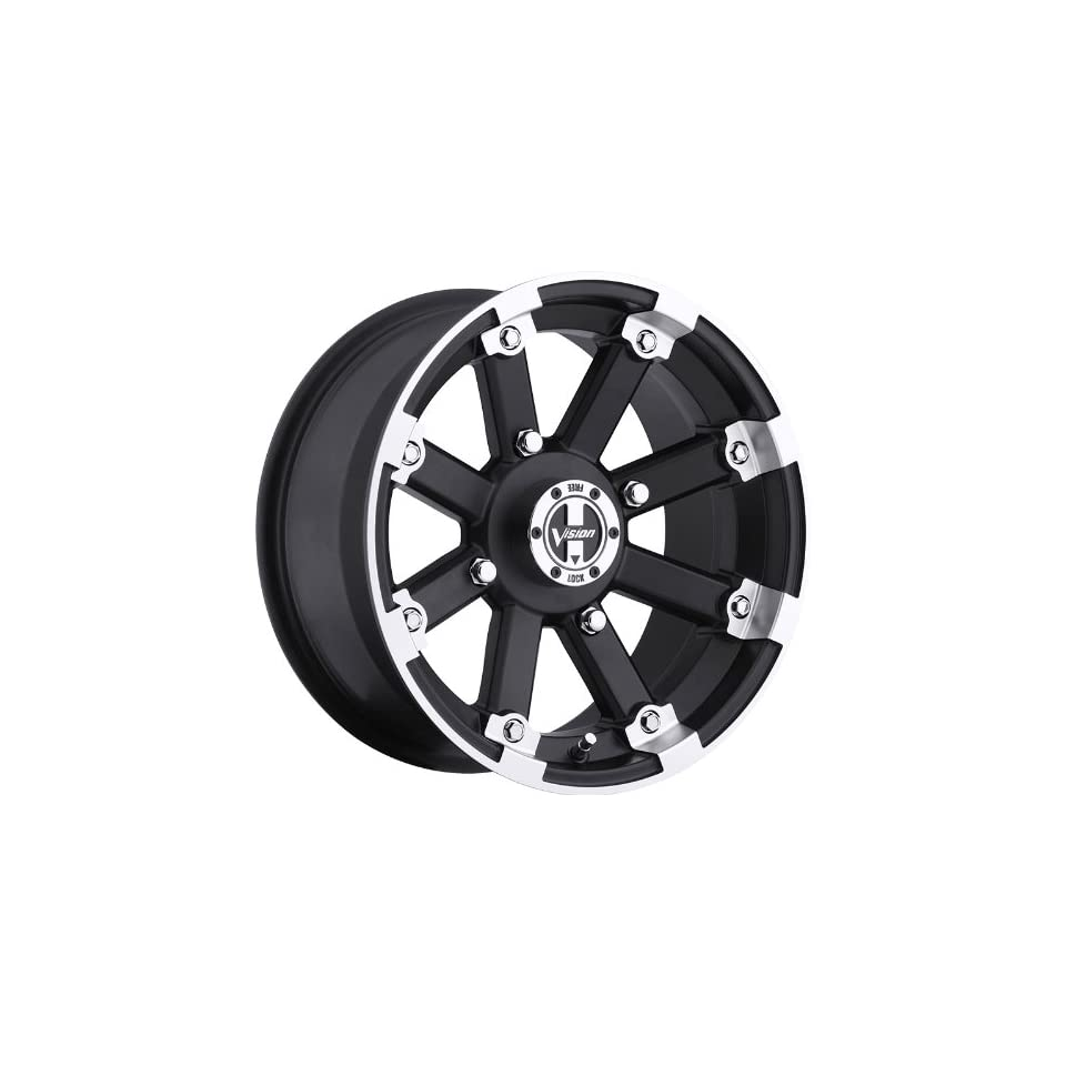 VISION WHEEL   393 lock out   14 Inch Rim x 8   (4x156) Offset ( 10.2) Wheel Finish   matte black machined lip with chrome hex bolt inserts