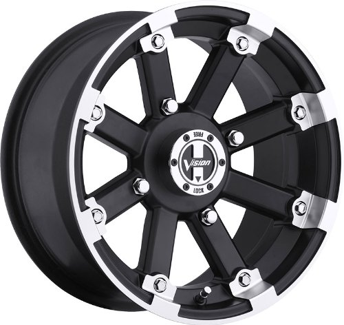 UPC 886821002528, VISION WHEEL - 393 lock out - 12 Inch Rim x 7 - (4x100) Offset (2.5) Wheel Finish - matte black machined lip with chrome hex bolt inserts