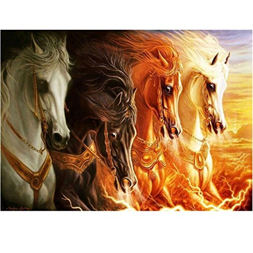 Wall Decor,RNTOP_Home Decor Horses Pattern 5D DIY Diamond Painting Embroidery Cross Craft Stitch Animal Home Decor Art Wall Sticker For Walls (Multicolor) Heart Plastic Canvas Pattern