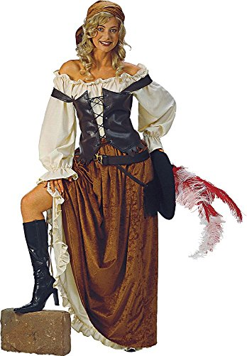 Alexanders Costumes Women's Caribbean Maiden, Brown, Large - Caribbean Pirate Maiden Costumes
