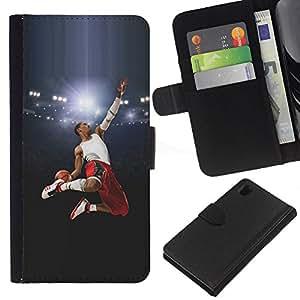 Protector de cuero de la PU de la cubierta del estilo de la carpeta del tirón BY RAYDREAMMM - Sony Xperia Z1 L39 - Volar Baloncesto héroe