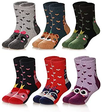 Children's Winter Warm Wool Solid Color Socks Kids Boy Girls Thermal Crew Socks 6 Pairs (1-3 Years, Animal)