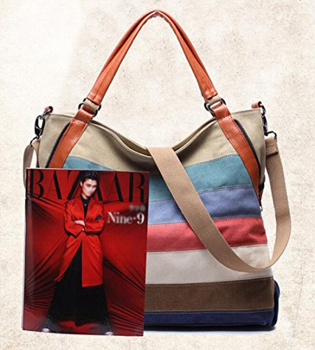 Bag Ms Lady Canvas JPFCAK Bags Bag Canvas Stripe Stitching Bag Crossbody Leisure Shoulder A Bag Portable Stripe OqpdpwUnc