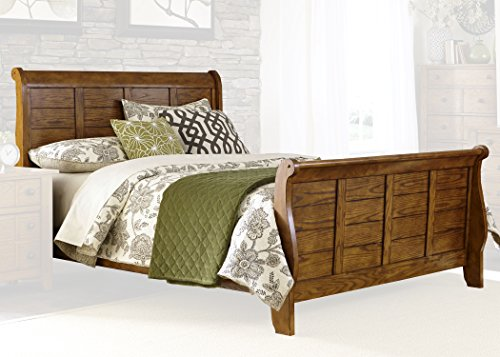 Liberty Furniture 175-BR-KSL Grandpa's Cabin Sleigh Bed, King, Aged Oak - Room Ash Dining Hutch