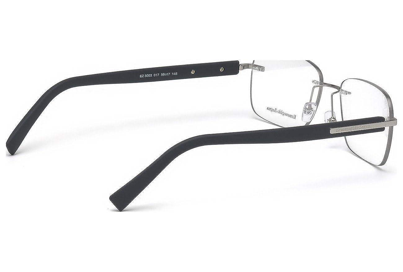 32120eeea7c Amazon.com  Ermenegildo Zegna EZ5003 - 017 Eyeglass Frame Matte Palladium  w  Clear Demo Lens 56mm   Clothing