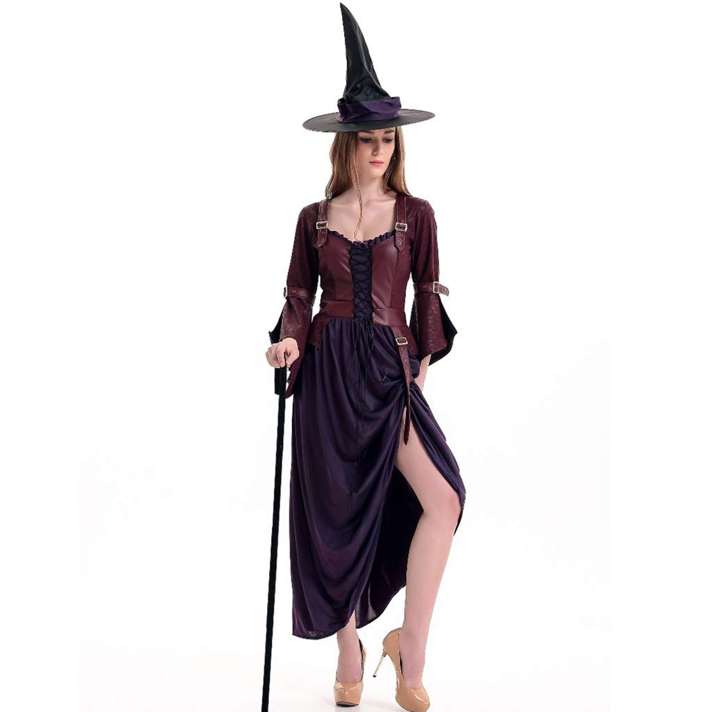 Onegirl Halloween Women Cosplay Witch Dress+Hat Clothes Set Suit Dance Party Long Sleeve Fluffy Dress Wine by Onegirl-dress