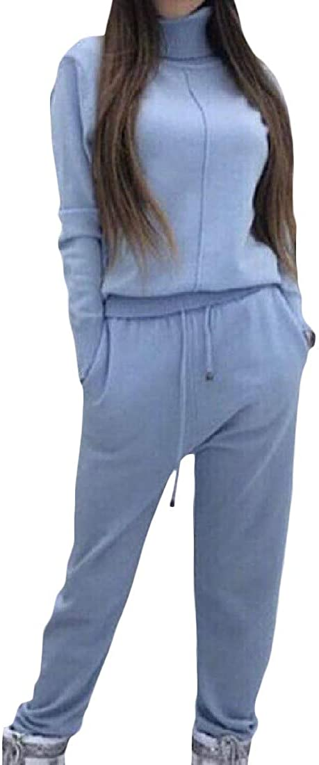 XXBlosom Womens Vogue High Neck Knits Sweater Pants 2 Pcs Tracksuit Set