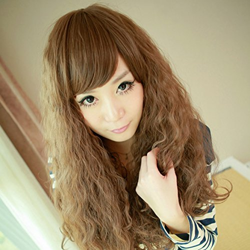 [Women Corn Perm Fluffy Long Curly Wig Oblique Bangs Hair (Light Brown)] (Perm Wigs)