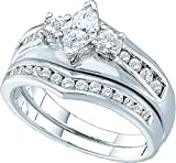 14kt White Gold Womens Marquise Diamond Bridal Wedding Engagement Ring Band Set 1/5 Cttw = 0.2 Cttw (SI3 clarity; G-H color)