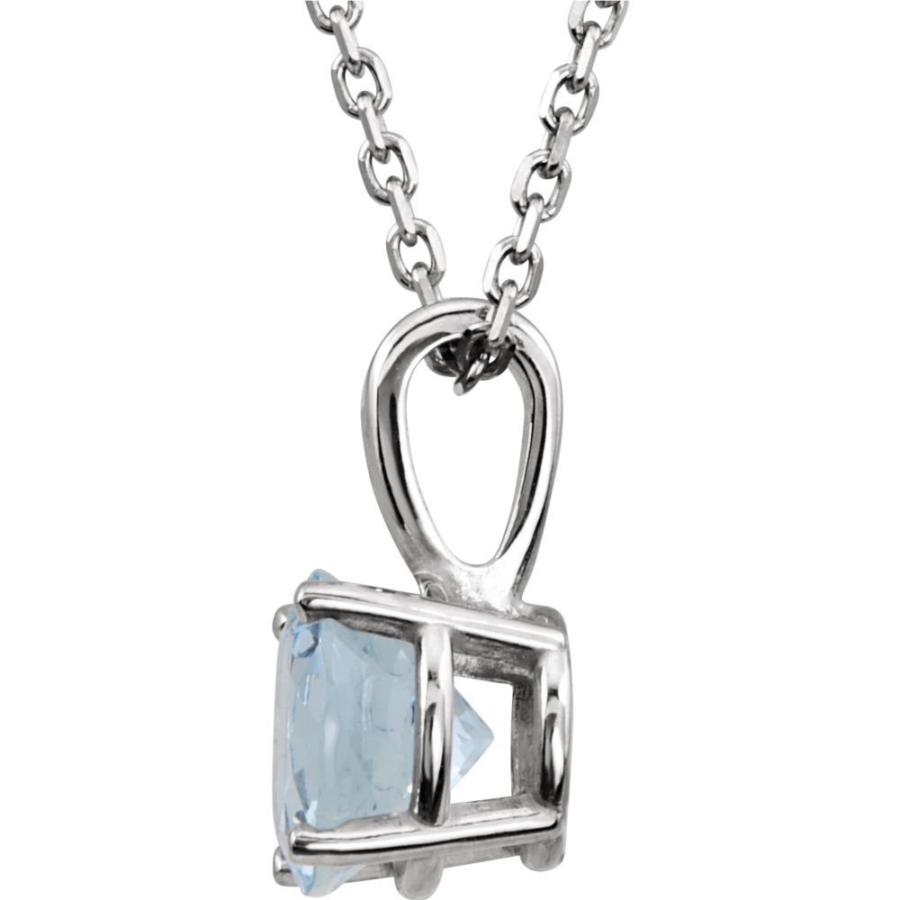 Bonyak Jewelry 14k White Gold Imitation Aquamarine March Birth Month Stone 14 Necklace