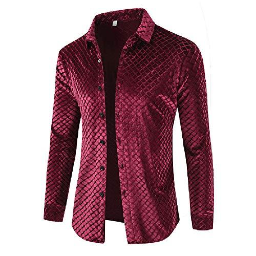 Turtleneck Interlock Cotton Print (Men's Slim Casual Gold Velvet Long Sleeved Shirt,Autumn Winter Button Brushed Coat)