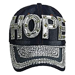 Jewel Studded Baseball Cap With Rhinestone