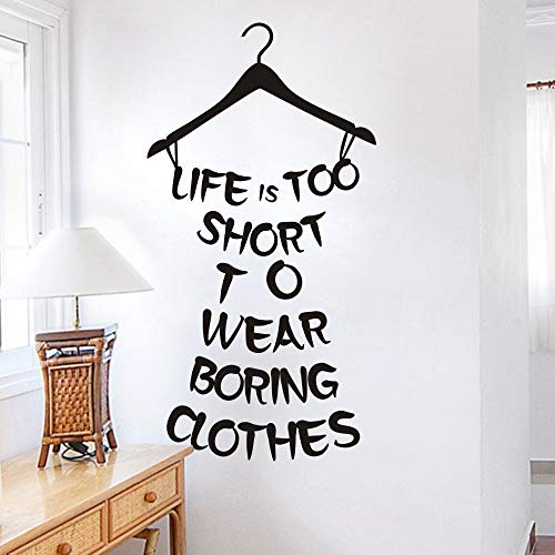 MoharWall Wall Decal for Women Quotes Bedroom Inspirational Home Saying Lettering Vinyl Art Decor Life is Too Short to Wear Boring Clothes ()