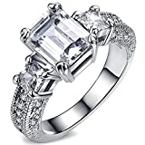 FENDINA Women's Crystal Engagement Wedding Spark Ring 18K White Gold Plated Emerald Cut 1.5ct Created Diamond Solitaire Anniversary Promise Rings