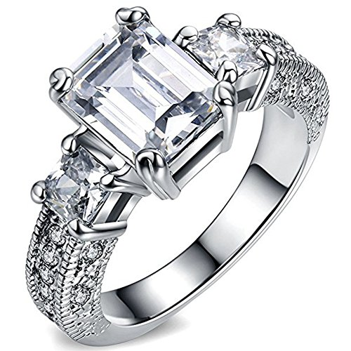 FENDINA Women's Crystal Engagement Wedding Spark Ring for sale  Delivered anywhere in USA