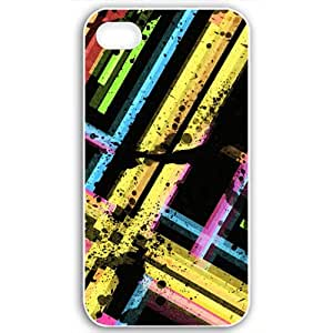 Apple Apple iPhone 4 4S Cases Customized Gifts Fors 3D Graphics Colorful Stained Stripes 3d Abstract Black