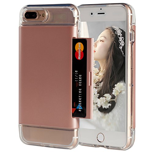 iPhone 7 Plus Wallet Case,Spsun Shock-Resistant Hybrid Dual Layer Hard Shell Skin Clear Soft TPU Rubber Bumper with ID/Card Credit Holder Slot Protective Case Cover For Apple iphone 7 Plus - Rose Gold