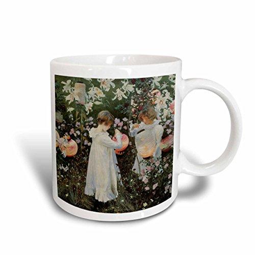 3dRose 126515_1 Carnation, Lily, Rose by John Singer Sargent Little Girls in a Garden Mug 11 oz ()