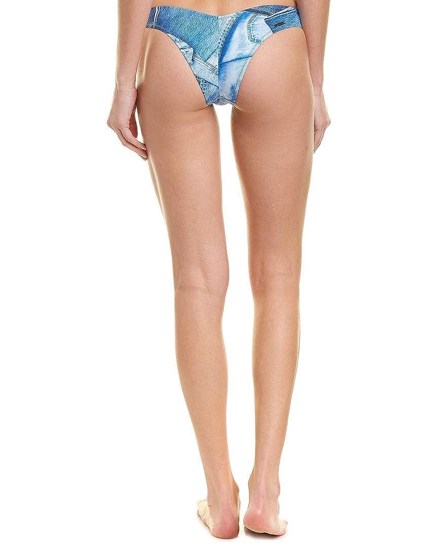 71a81a2dd18c3 Amazon.com: KENDALL + KYLIE Womens High Cut Bikini Bottom, L, Blue: Clothing