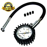 Auto-Tec Pro Tire Pressure Gauge 60 PSI - Accurate & Heavy Duty - Best For Car, Motorcycle or Truck - includes 4 Free Valve Caps