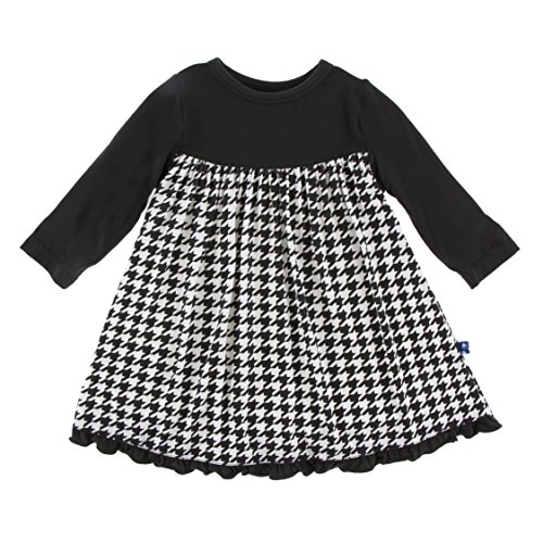 (Kickee Pants Little Girls Print Classic Long Sleeve Swing Dress, Zebra Houndstooth, 4T )