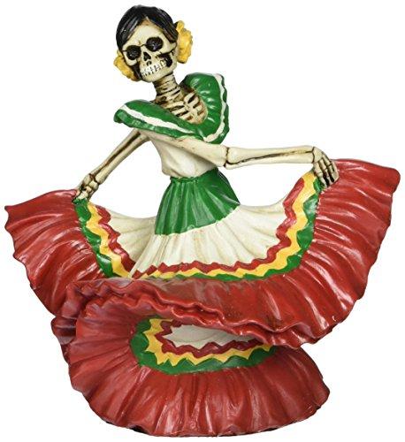 Skeleton Dod Dancing Senorita Red Figurine Decoration Collectible
