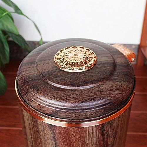 滑らかな表面 ホテルトラッシュビン、レトロスタイルのペダル木目調のごみ箱ベッドルームコーヒーショップレストランごみビンビッグ容量 リサイクル可能なデザイン (Color : White, Size : 10L)