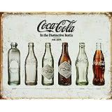 Signs-Unique - Insegna in latta effetto vintage, motivo: evoluzione della bottiglia di Coca Cola, dimensioni: 32 x 41 cm