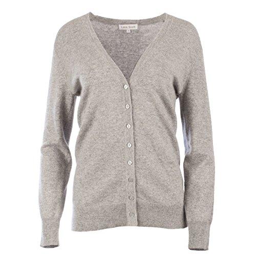 Lona Scott Women's 100% Cashmere V-Neck Buttoned Cardigan Grey (Scott V-neck Cardigan)