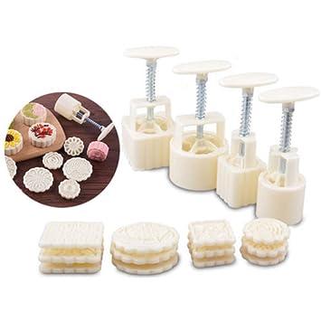 50 G y 100 G 4 plunker + 12 sellos cuadrado redondo flor luna para tartas para galletas de galletas, molde para repostería herramienta Mano Print por ...