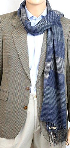 laine pour hommes cou echarpe prime qualite douce lumiere agneau chaud epais 30x180 cm bleu gris