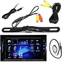 JVC 6.2 Inch Touch Screen Car CD DVD USB Bluetooth Stereo Receiver Bundle Combo with License Plate Mount Rear View Colored Backup Parking Camera, Enrock 22 AM/FM Radio Antenna