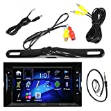 """JVC 6.2"""" Inch Touch Screen Car CD DVD USB Bluetooth Stereo Receiver Bundle Combo with License Plate Mount Rear View Colored Backup Parking Camera, Enrock 22"""" AM/FM Radio Antenna"""