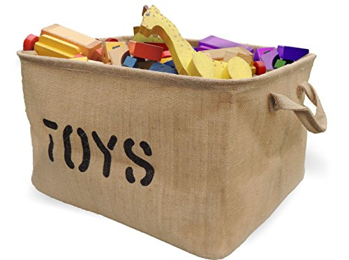 Jute TOY Storage Bin - Storage Basket for organizing Baby Toys, Kids Toys, Baby Clothing, Children Books, Gift Baskets