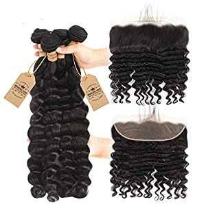 Hair Brazilian Loose Deep Wave 4 Bundles With Closure 13X4 Lace Remy Human Hair Bundles With Frontal Pre Plucked Natural…