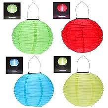 RioRand solar led lantern outdoor hanging lights waterproof Chinese celebration 4pcs 30CM (Red+Green+ Blue+Yellow)