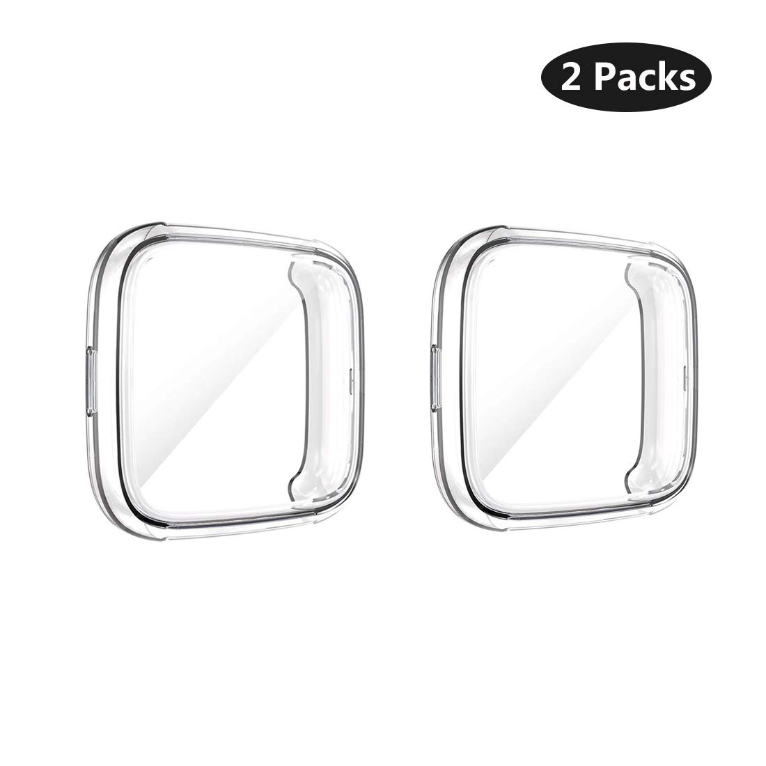 UCMDA Case Screen Protector for Fitbit Versa 2, Soft TPU Full Protective Cover Case for Fitbit Versa 2-Clear + Clear